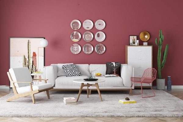 北欧双人沙发休闲椅茶几边柜装饰画摆件组合3D模型【ID:17235001】