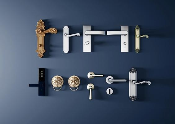 欧式门锁把手组合3D模型【ID:17235409】