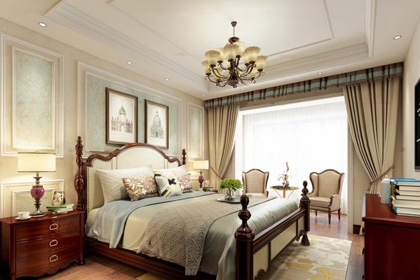 美式卧室3D模型【ID:419680396】