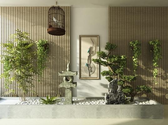 新中式仿古石灯鸟笼绿植3D模型【ID:17236182】