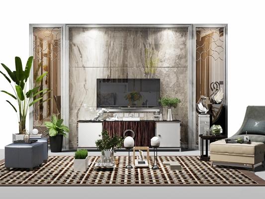 现代电视背景墙电视柜沙发脚踏摆件组合3D模型【ID:17236218】