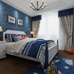美式男孩卧室儿童房3D模型【ID:17236520】