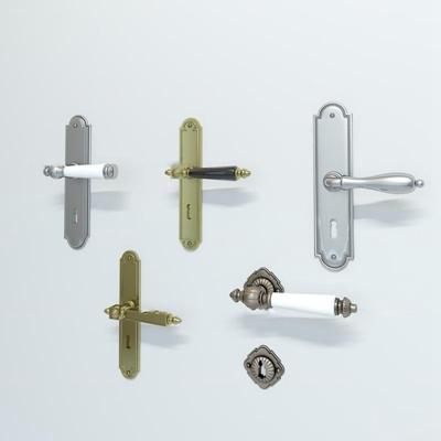 欧式金属门把拉手组合3D模型【ID:17238702】