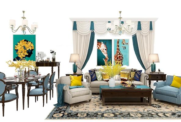 美式沙发茶几餐桌椅吊灯窗帘组合3D模型【ID:17239105】