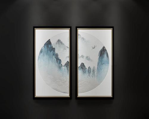 新中式水墨画装饰画挂画组合3D模型【ID:17239208】