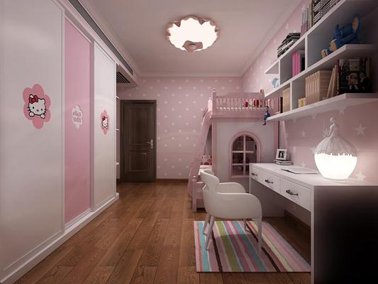 现代粉嫩儿童房卧室3D模型【ID:17239727】