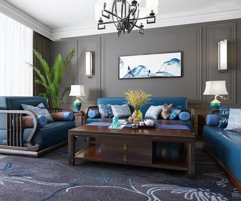 新中式沙发茶几台灯组合3D模型【ID:17240308】
