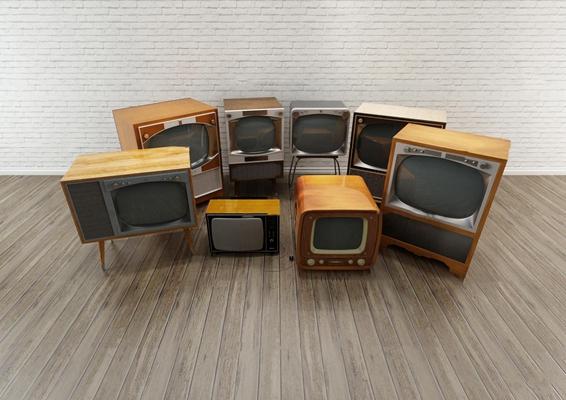 现代复古电视机组合3D模型【ID:17240739】