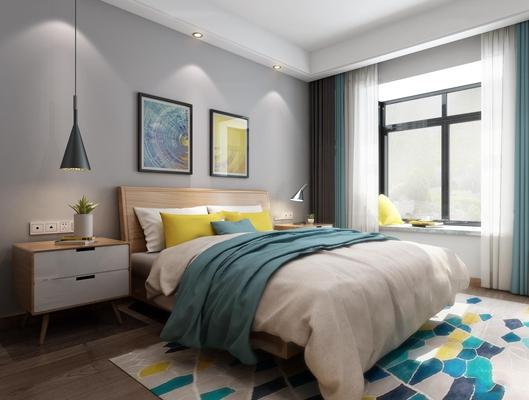 北欧卧室3D模型【ID:17242030】