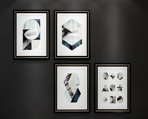 北欧几何挂画装饰画组合3D模型【ID:17242203】
