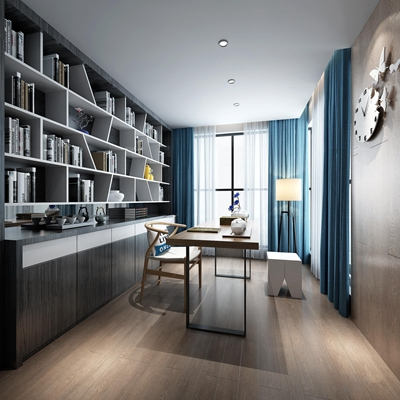 新中式书房3D模型【ID:17245776】