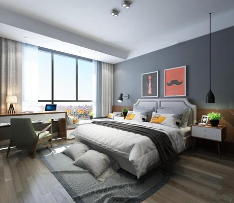 北欧卧室3D模型【ID:17246233】