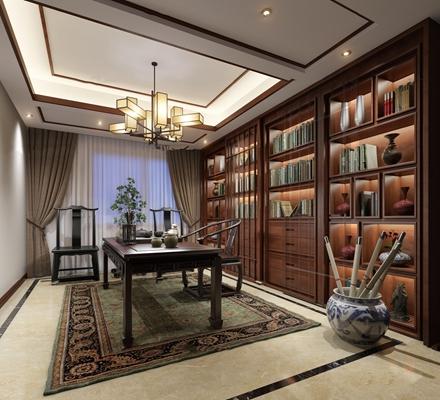 新中式书房茶艺3D模型【ID:17246272】