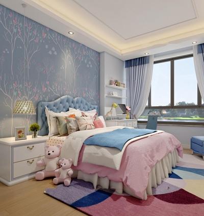 现代儿童房女孩卧室3D模型【ID:17246320】