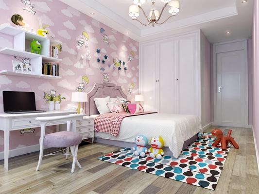 简欧儿童房女孩卧室3D模型【ID:17246322】