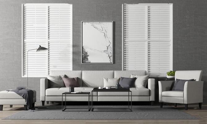 现代多人沙发茶几休闲沙发组合3D模型【ID:17246703】