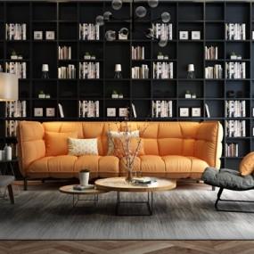 现代布艺沙发休闲椅茶几书柜书籍组合3D模型【ID:17246706】