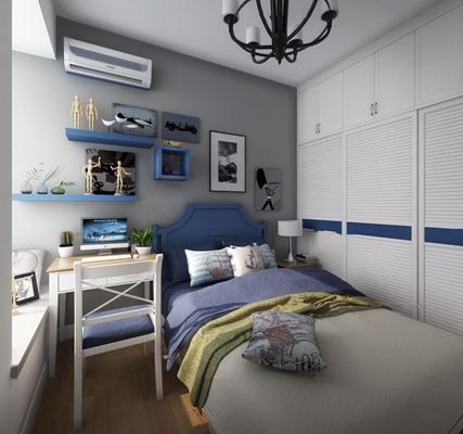 北欧儿童房男孩卧室3D模型【ID:17246929】