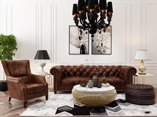 美式沙发茶几吊灯组合3D模型【ID:17247104】