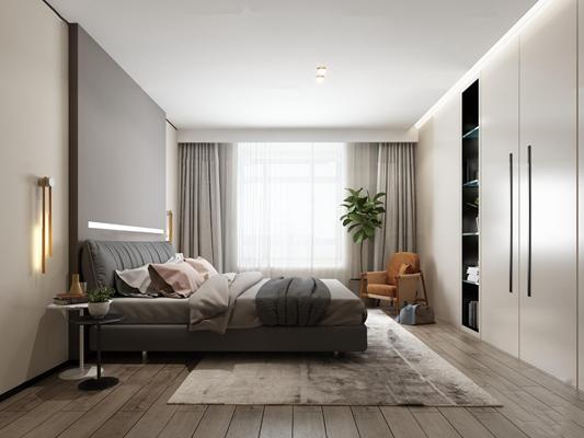 北欧卧室3D模型【ID:17248837】