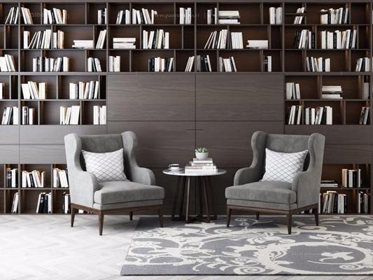 后现代单人沙发书柜3D模型【ID:928172621】