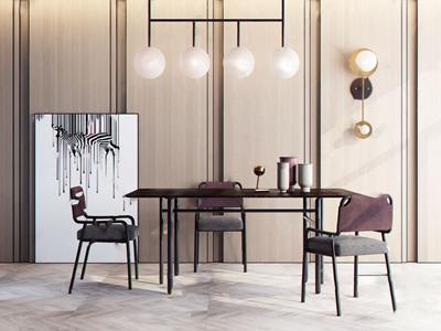 现代轻奢餐桌椅组合3D模型【ID:841632870】