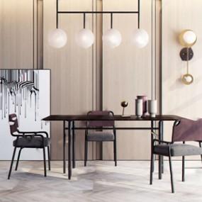 現代輕奢餐桌椅組合 3D模型【ID:841632870】