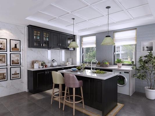 北歐黑色廚房3D模型【ID:528017050】