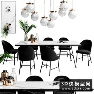 現代餐桌椅吊燈组合国外3D模型【ID:729339707】