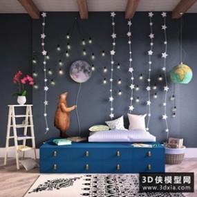 儿童房装品组合国外3D模型【ID:929295819】