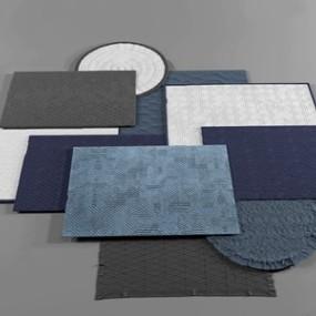 现代纹理方毯圆毯组合3D模型【ID:236240603】