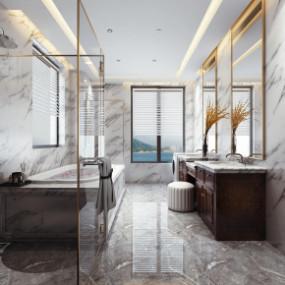美式浴室卫生间3D模型【ID:927821570】