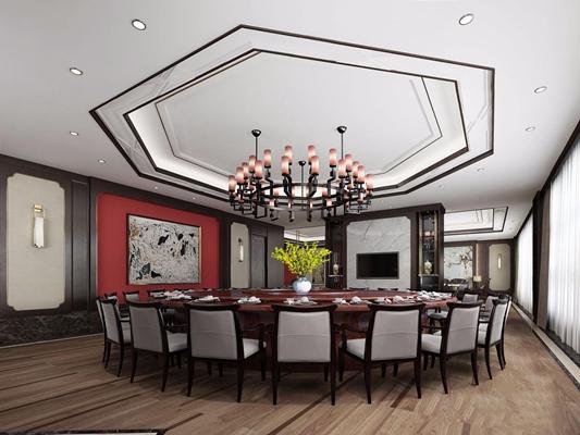 新中式会所餐厅 新中式餐饮空间 圆餐桌 吊灯 椅子 壁灯 花艺 餐具