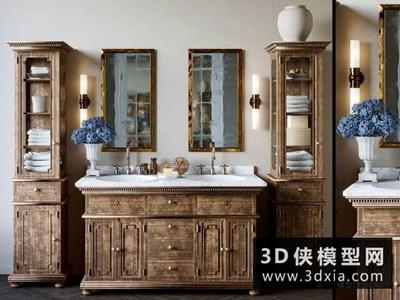 歐式洗手臺盆組合國外3D模型【ID:829350085】