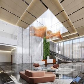 现代酒店大厅3D模型【ID:427957565】