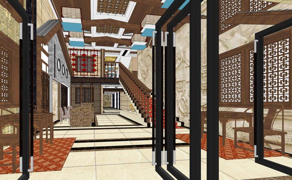 中式大堂室内设计SU模型【ID:636346057】