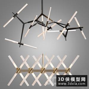 現代金屬吊燈國外3D模型【ID:829321775】