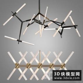 现代金属吊灯国外3D模型【ID:829321775】
