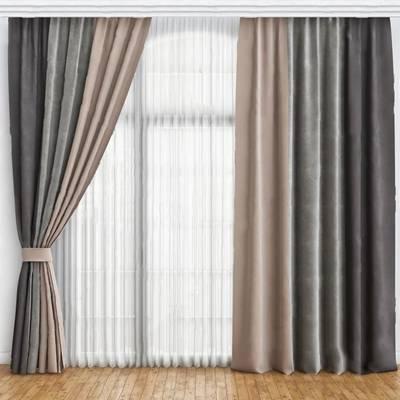 现代窗帘3D模型下载【ID:319500828】