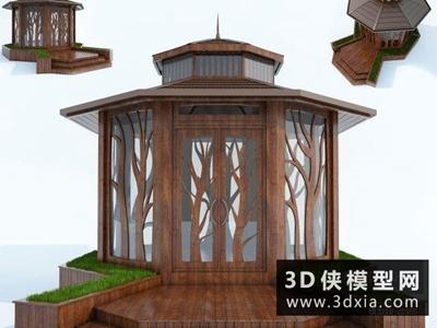 現代八角亭國外3D模型【ID:329421389】