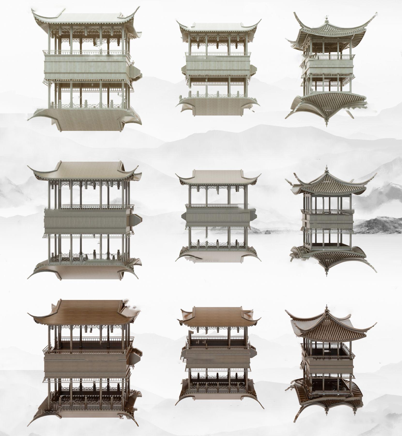 中式徽派建筑古建筑挂件3D模型【ID:243275733】