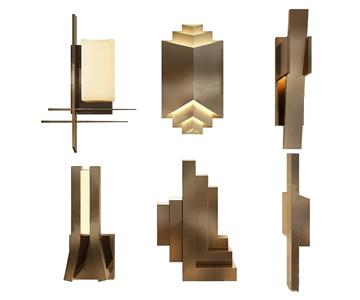 現代壁燈組合3D模型【ID:741629991】