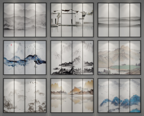 新中式水墨掛畫裝飾畫組合3D模型【ID:127754093】