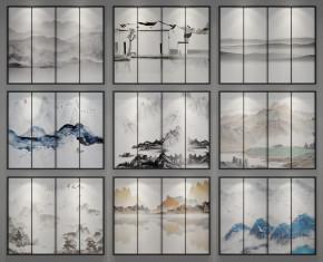 新中式水墨挂画装饰画组合3D模型【ID:127754093】