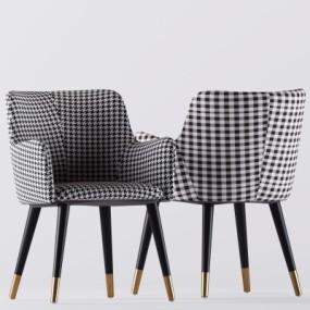 现代布艺单椅组合3D模型【ID:227783459】