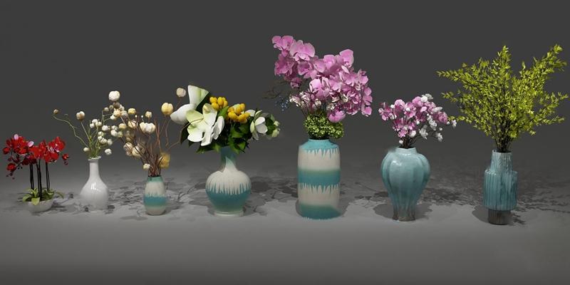 现代花瓶花卉3D模型【ID:320616571】