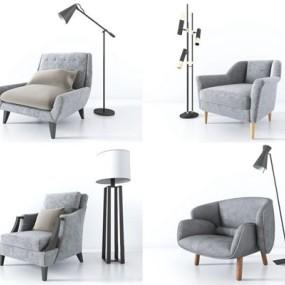 现代单人沙发组合3D模型【ID:928168670】