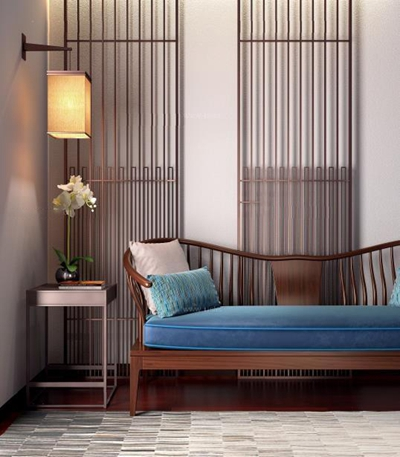 新中式沙發角幾壁燈組合3D模型【ID:928169869】