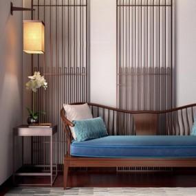 新中式沙发角几壁灯组合3D模型【ID:928169869】