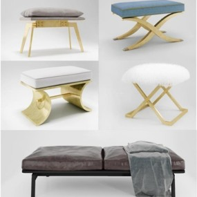 现代脚凳床尾凳组合3D模型【ID:427944493】